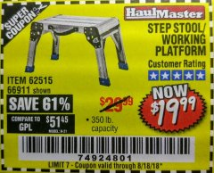 Harbor Freight Coupon STEP STOOL/WORKING PLATFORM Lot No. 66911/62515 Expired: 8/18/18 - $19.99