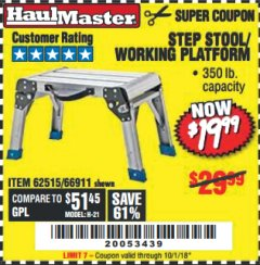 Harbor Freight Coupon STEP STOOL/WORKING PLATFORM Lot No. 66911/62515 Expired: 10/1/18 - $19.99