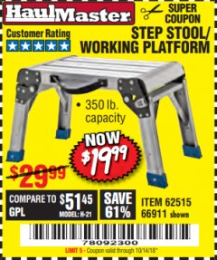 Harbor Freight Coupon STEP STOOL/WORKING PLATFORM Lot No. 66911/62515 Expired: 10/14/18 - $19.99