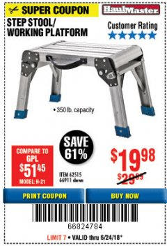 Harbor Freight Coupon STEP STOOL/WORKING PLATFORM Lot No. 66911/62515 Expired: 6/24/18 - $19.98