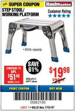 Harbor Freight Coupon STEP STOOL/WORKING PLATFORM Lot No. 66911/62515 Expired: 7/31/18 - $19.98
