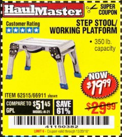Harbor Freight Coupon STEP STOOL/WORKING PLATFORM Lot No. 66911/62515 Expired: 12/20/18 - $19.99