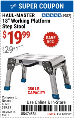 Harbor Freight Coupon STEP STOOL/WORKING PLATFORM Lot No. 66911/62515 Valid Thru: 8/31/20 - $19.99