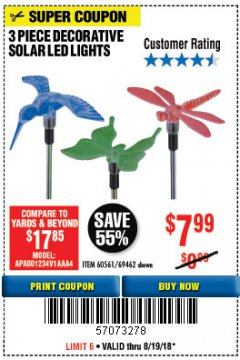 Harbor Freight Coupon 3 PIECE SOLAR DECORATIVE LED LIGHTS Lot No. 60561/69462/95588 Expired: 8/19/18 - $7.99