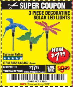 Harbor Freight Coupon 3 PIECE SOLAR DECORATIVE LED LIGHTS Lot No. 60561/69462/95588 Expired: 1/6/19 - $7.99