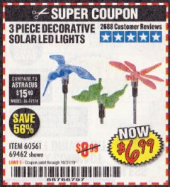 Harbor Freight Coupon 3 PIECE SOLAR DECORATIVE LED LIGHTS Lot No. 60561/69462/95588 Expired: 10/31/19 - $6.99
