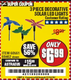 Harbor Freight Coupon 3 PIECE SOLAR DECORATIVE LED LIGHTS Lot No. 60561/69462/95588 Expired: 12/14/19 - $6.99