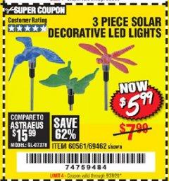 Harbor Freight Coupon 3 PIECE SOLAR DECORATIVE LED LIGHTS Lot No. 60561/69462/95588 Expired: 6/28/20 - $5.99