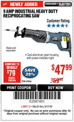 Harbor Freight Coupon 9 AMP, HEAVY DUTY VARIABLE SPEED RECIPROCATING SAW Lot No. 69066 Expired: 3/17/19 - $47.99