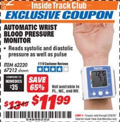 Harbor Freight ITC Coupon AUTOMATIC WRIST BLOOD PRESSURE MONITOR Lot No. 67212/62220 Valid: 2/1/20 - 2/29/20 - $11.99