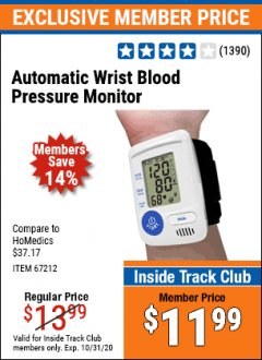 Harbor Freight ITC Coupon AUTOMATIC WRIST BLOOD PRESSURE MONITOR Lot No. 67212/62220 Valid: 10/1/20 - 10/31/20 - $11.99