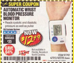 Harbor Freight Coupon AUTOMATIC WRIST BLOOD PRESSURE MONITOR Lot No. 67212/62220 Expired: 11/30/19 - $12.49