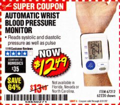 Harbor Freight Coupon AUTOMATIC WRIST BLOOD PRESSURE MONITOR Lot No. 67212/62220 Valid Thru: 3/31/20 - $12.99