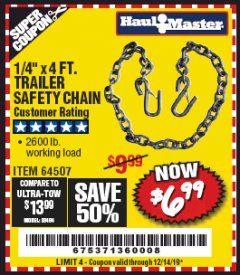 "Harbor Freight Coupon 1/4"" X 4 FT. TRAILER SAFETY CHAIN Lot No. 64507 Expired: 12/14/19 - $6.99"