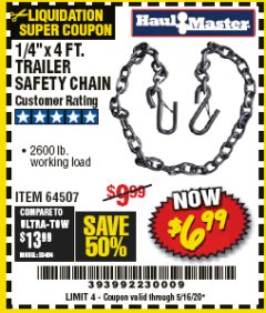 "Harbor Freight Coupon 1/4"" X 4 FT. TRAILER SAFETY CHAIN Lot No. 64507 Expired: 6/30/20 - $6.99"