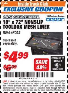 "Harbor Freight ITC Coupon 18"" x 72"" NONSLIP TOOLBOX MESH LINER Lot No. 67055 Expired: 12/31/18 - $4.99"