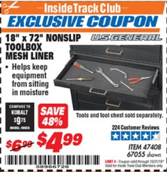 "Harbor Freight ITC Coupon 18"" x 72"" NONSLIP TOOLBOX MESH LINER Lot No. 67055 Expired: 10/31/19 - $4.99"