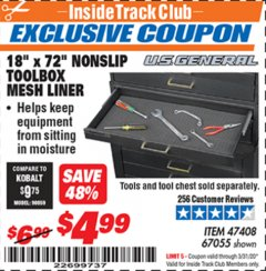 "Harbor Freight ITC Coupon 18"" x 72"" NONSLIP TOOLBOX MESH LINER Lot No. 67055 Expired: 3/31/20 - $4.99"