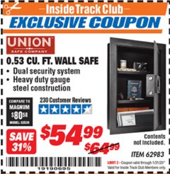 Harbor Freight ITC Coupon 0.53 CUBIC FT. DIGITAL WALL SAFE Lot No. 62983/97081 Expired: 1/31/20 - $54.99