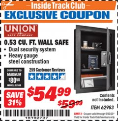 Harbor Freight ITC Coupon 0.53 CUBIC FT. DIGITAL WALL SAFE Lot No. 62983/97081 Expired: 6/30/20 - $54.99