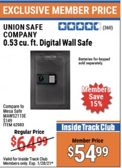 Harbor Freight ITC Coupon 0.53 CUBIC FT. DIGITAL WALL SAFE Lot No. 62983/97081 Expired: 1/28/21 - $54.99