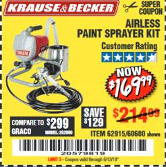 Harbor Freight Coupon AIRLESS PAINT SPRAYER KIT Lot No. 62915/60600 Expired: 6/13/18 - $169.99