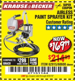 Harbor Freight Coupon AIRLESS PAINT SPRAYER KIT Lot No. 62915/60600 Expired: 8/20/18 - $169.99