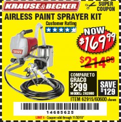 Harbor Freight Coupon AIRLESS PAINT SPRAYER KIT Lot No. 62915/60600 Expired: 11/30/18 - $169.99
