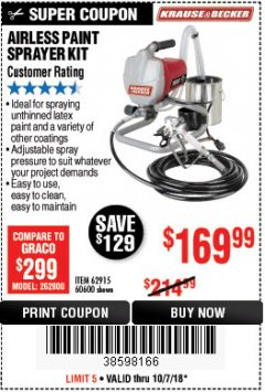 Harbor Freight Coupon AIRLESS PAINT SPRAYER KIT Lot No. 62915/60600 Expired: 10/7/18 - $169.99