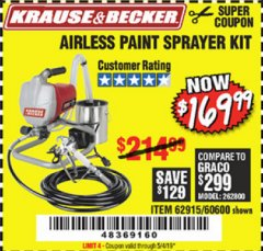 Harbor Freight Coupon AIRLESS PAINT SPRAYER KIT Lot No. 62915/60600 Expired: 5/4/19 - $169.99
