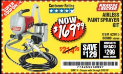 Harbor Freight Coupon AIRLESS PAINT SPRAYER KIT Lot No. 62915/60600 Expired: 3/30/19 - $169.99