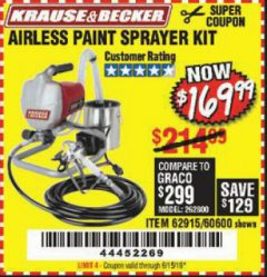Harbor Freight Coupon AIRLESS PAINT SPRAYER KIT Lot No. 62915/60600 Expired: 6/15/19 - $169.99