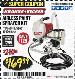 Harbor Freight Coupon AIRLESS PAINT SPRAYER KIT Lot No. 62915/60600 Expired: 4/30/19 - $169.99