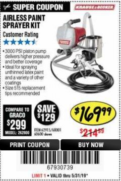 Harbor Freight Coupon AIRLESS PAINT SPRAYER KIT Lot No. 62915/60600 Expired: 5/31/19 - $169.99