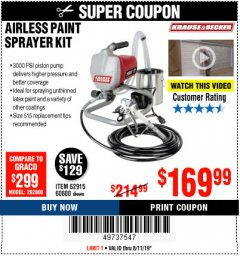 Harbor Freight Coupon AIRLESS PAINT SPRAYER KIT Lot No. 62915/60600 Expired: 8/11/19 - $169.99
