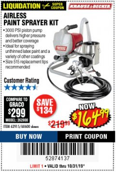 Harbor Freight Coupon AIRLESS PAINT SPRAYER KIT Lot No. 62915/60600 Expired: 10/31/19 - $164.99