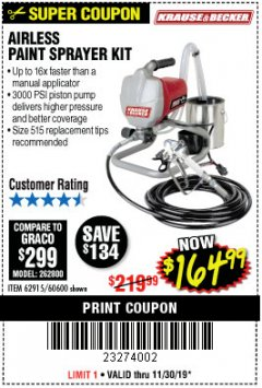 Harbor Freight Coupon AIRLESS PAINT SPRAYER KIT Lot No. 62915/60600 Expired: 11/30/19 - $164.99