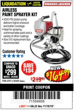 Harbor Freight Coupon AIRLESS PAINT SPRAYER KIT Lot No. 62915/60600 Expired: 11/10/19 - $164.99