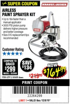 Harbor Freight Coupon AIRLESS PAINT SPRAYER KIT Lot No. 62915/60600 Expired: 12/8/19 - $164.99