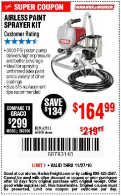 Harbor Freight Coupon AIRLESS PAINT SPRAYER KIT Lot No. 62915/60600 Expired: 11/27/19 - $164.99