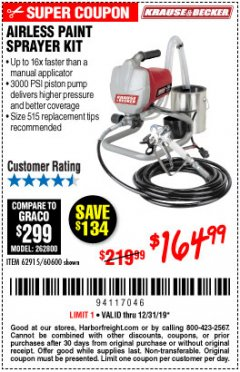 Harbor Freight Coupon AIRLESS PAINT SPRAYER KIT Lot No. 62915/60600 Expired: 12/31/19 - $164.99