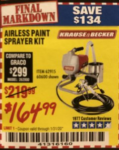 Harbor Freight Coupon AIRLESS PAINT SPRAYER KIT Lot No. 62915/60600 Expired: 1/31/20 - $164.99
