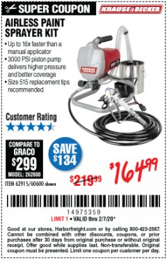 Harbor Freight Coupon AIRLESS PAINT SPRAYER KIT Lot No. 62915/60600 Expired: 2/7/20 - $164.99