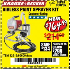 Harbor Freight Coupon AIRLESS PAINT SPRAYER KIT Lot No. 62915/60600 Expired: 2/15/20 - $164.99