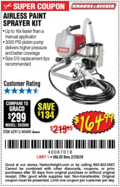 Harbor Freight Coupon AIRLESS PAINT SPRAYER KIT Lot No. 62915/60600 Expired: 2/29/20 - $164.99