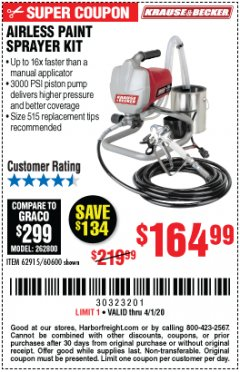 Harbor Freight Coupon AIRLESS PAINT SPRAYER KIT Lot No. 62915/60600 Expired: 4/1/20 - $164.99