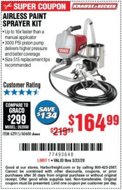 Harbor Freight Coupon AIRLESS PAINT SPRAYER KIT Lot No. 62915/60600 Expired: 3/22/20 - $164.99