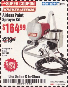 Harbor Freight Coupon AIRLESS PAINT SPRAYER KIT Lot No. 62915/60600 Expired: 7/5/20 - $164.99
