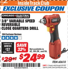 "Harbor Freight ITC Coupon 3/8"" REVERSIBLE CLOSE QUARTERS DRILL Lot No. 60610 Expired: 3/31/20 - $24.99"