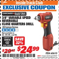 "Harbor Freight ITC Coupon 3/8"" REVERSIBLE CLOSE QUARTERS DRILL Lot No. 60610 Expired: 6/30/20 - $24.99"